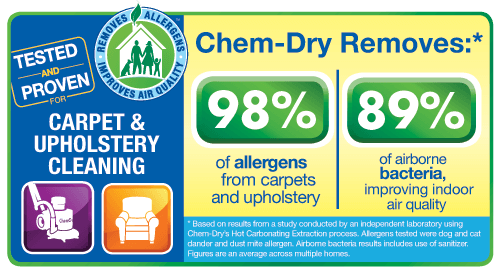 JA Chem-Dry's carpet cleaning in University Place removes 98% of allergens and 89% of airborne bacteria