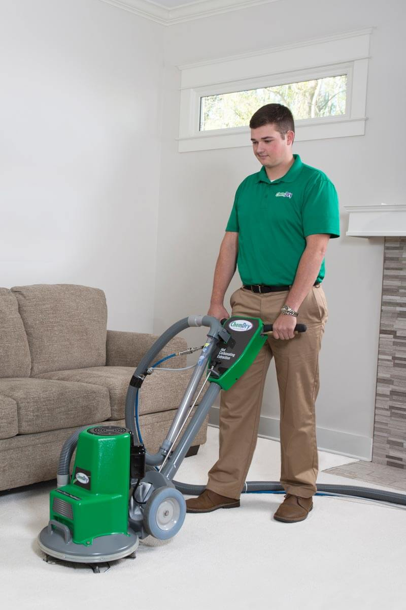 JA Chem-Dry technician performing professional carpet cleaning services in University Place, Washington